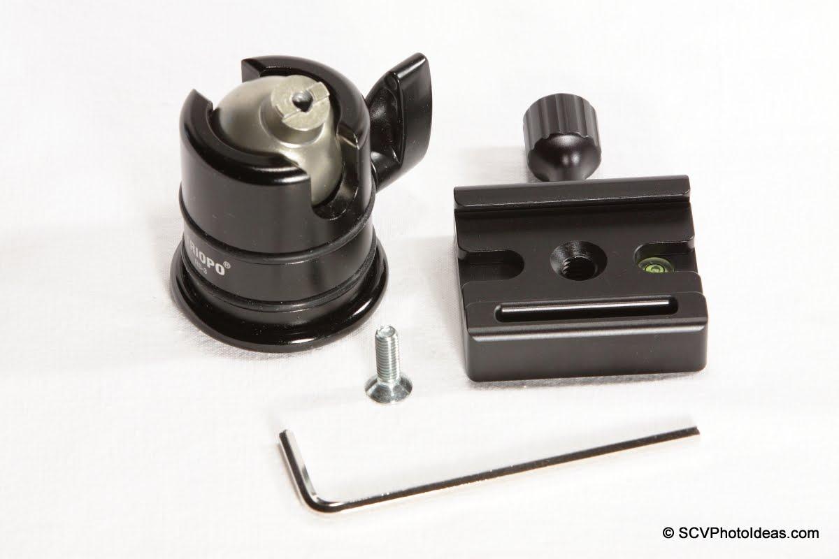 Desmond DBA-1 QR clamp w/ Triopo RS-3 ball head + M6 screw + Hex key