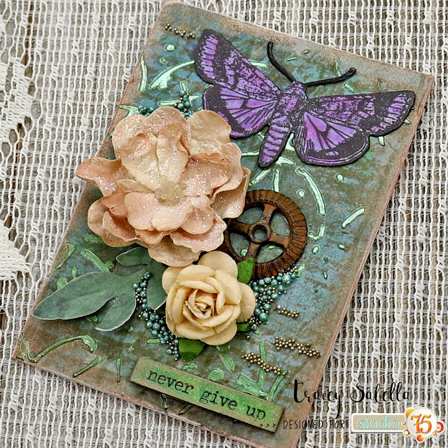Spring Mixed Media ATCs by Tracey Sabella for Studio75: #studio75 #traceysabella #49andmarket #timholtz #rangerink #finnabair #prills #panpastel #stampendous #artanthology #thecraftersworkshop #stampendous #helmar #mixedmedia #atcs #atc #shabbychicatc #mixedmediaatc #shabbychic #entomology #insects #springisintheair #spring #springart #butterfly #butterflies