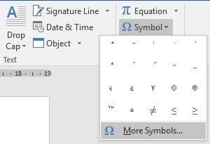 Menu symbol pada microsoft word