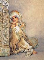 Üzerinde üzgün bir kız resmi bulunan goblen işleme kumaş
