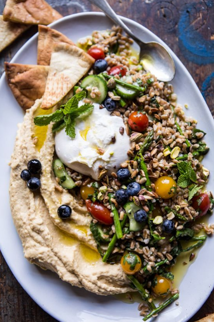 farro tabbouleh with burrata and hummus