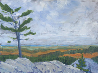 A painting of the view from the Crack in Killarney Provincial Park