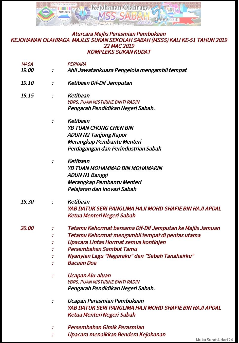 Aturcara Majlis Perasmian Kejohanan