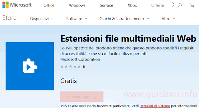 Pagina Windows Store app Estensioni file multimediali Web