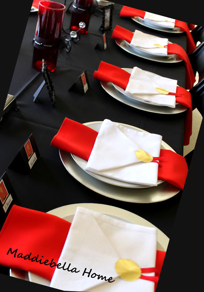 a tablescape to celebrate an oscars party