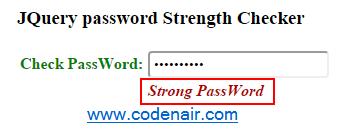 JQuery password Strength Checker
