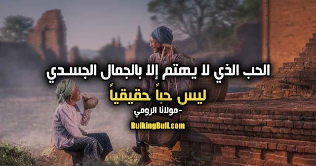 """6- """"الحب الذي لا يهتم إلا بالجمال الجسدي ليس حباً حقيقياً"""" - مولانا الرومي"""