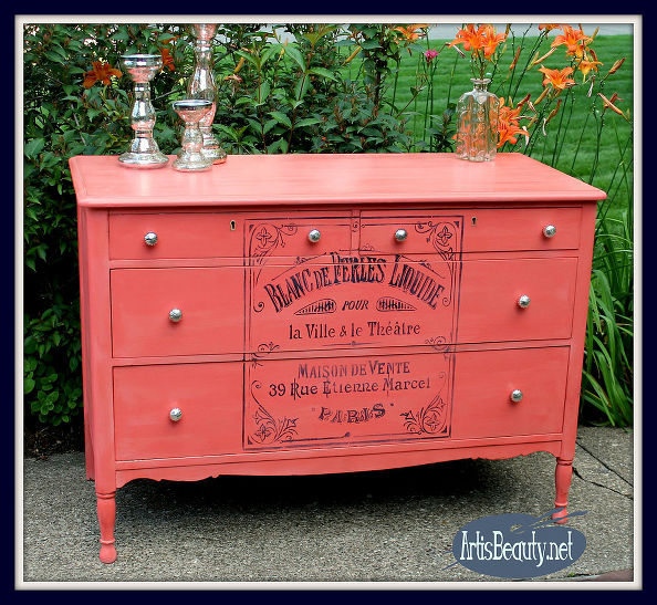 Vintage Coral Dresser