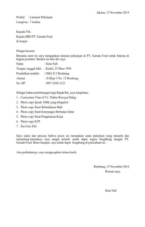 contoh surat lamaran pekerjaan untuk umum 2016 susan azzahra