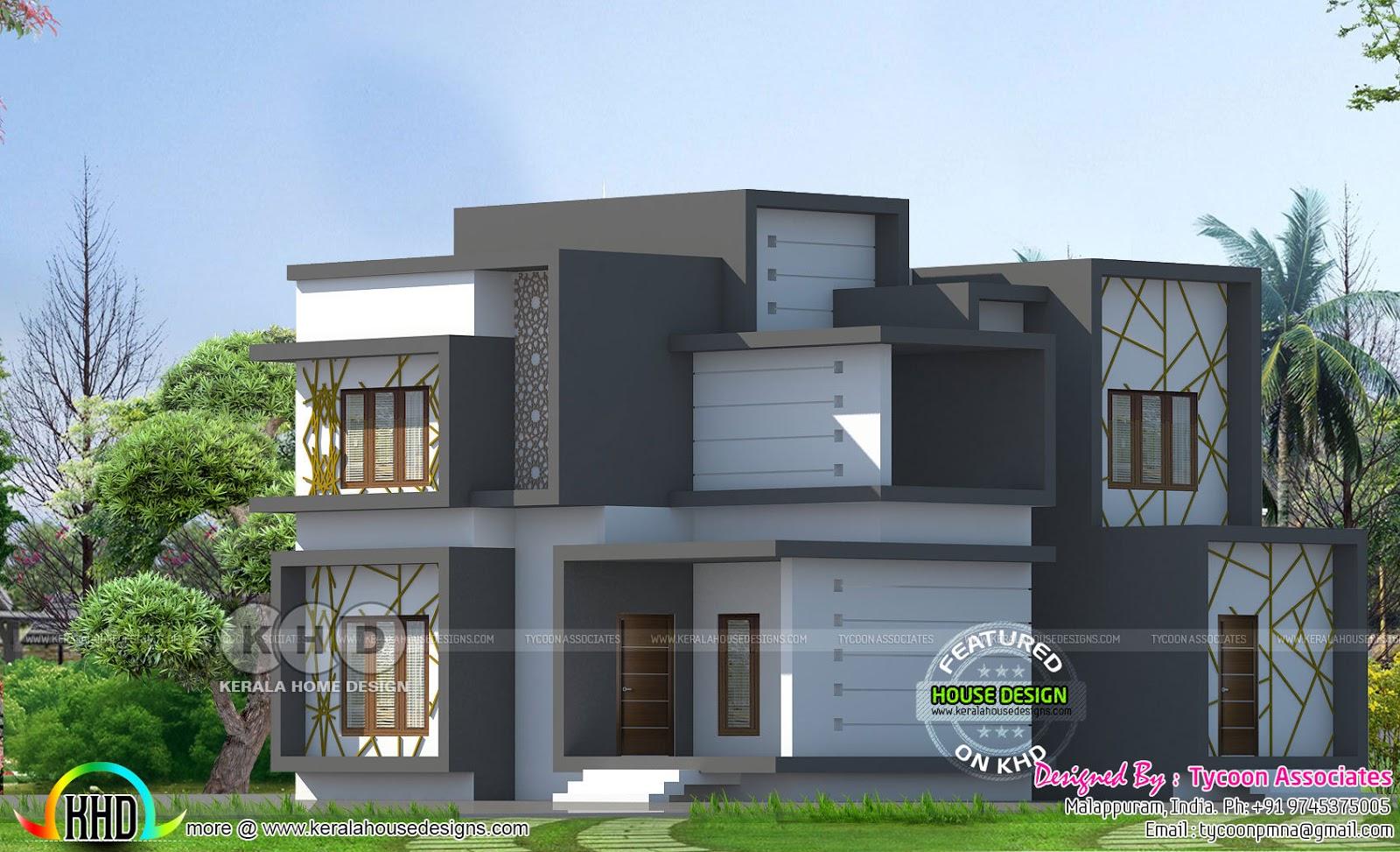 Flat roof modern home by Tycoon Associates - Kerala home ...