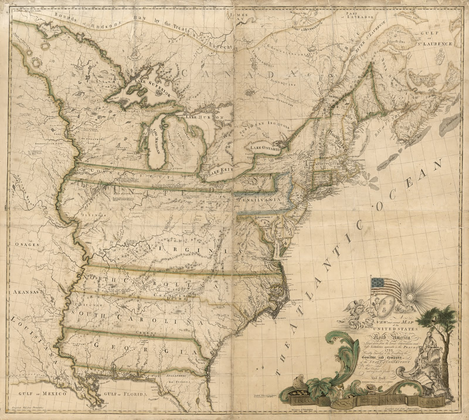 the first map of the U.S. drawn and printed in the US by an American (1784)