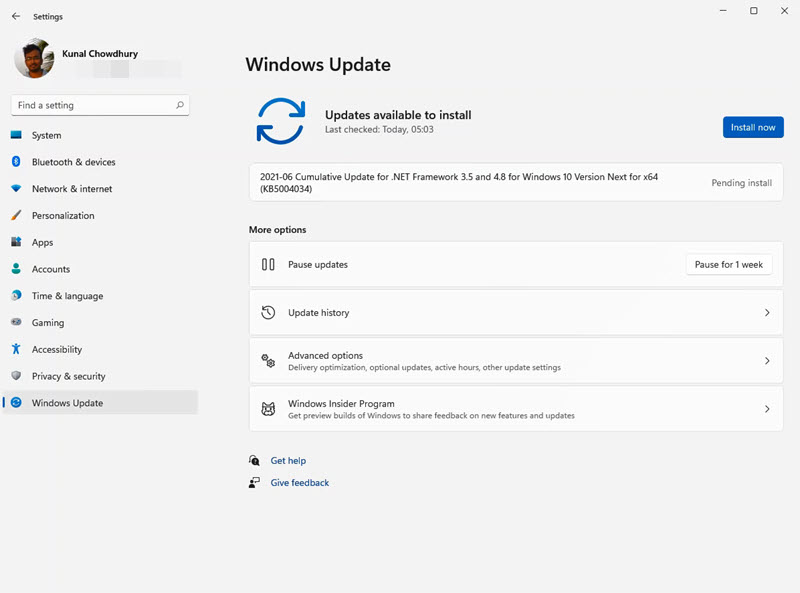A quick look to Windows 11 Settings app - Windows Update