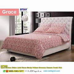 Sprei Custom Katun Lokal Grace Candy Pattern Ornamen Dewasa Peach Pink