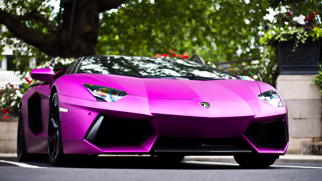 Purple Lamborghini Aventador HD Wallpaper