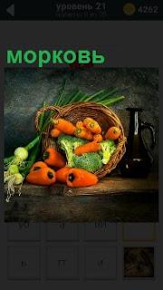 В опрокинутой корзине лежит морковь, лук, капуста и другие овощи. Рядом стоит темный кувшин