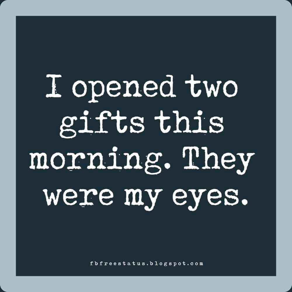 I opened two gifts this morning. They were my eyes. Good Morning.
