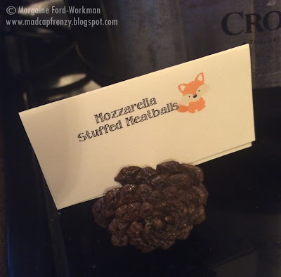 Woodland Creature Baby Shower food mozzarella stuffed meatballs