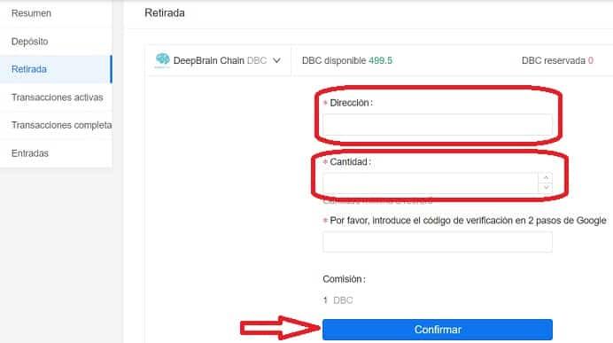 retirar monedas deepbrain chain DBC