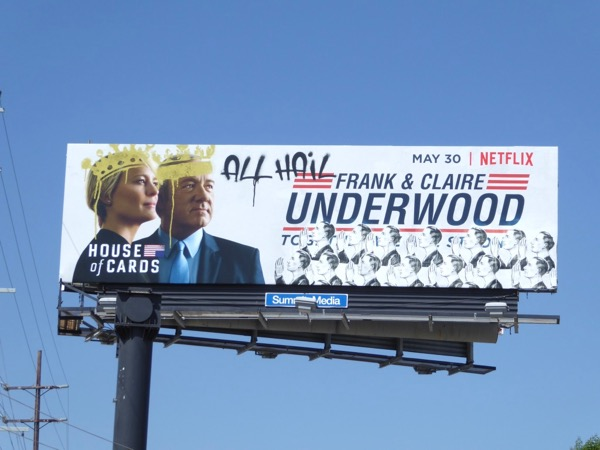 House of Cards season 5 graffitied billboard