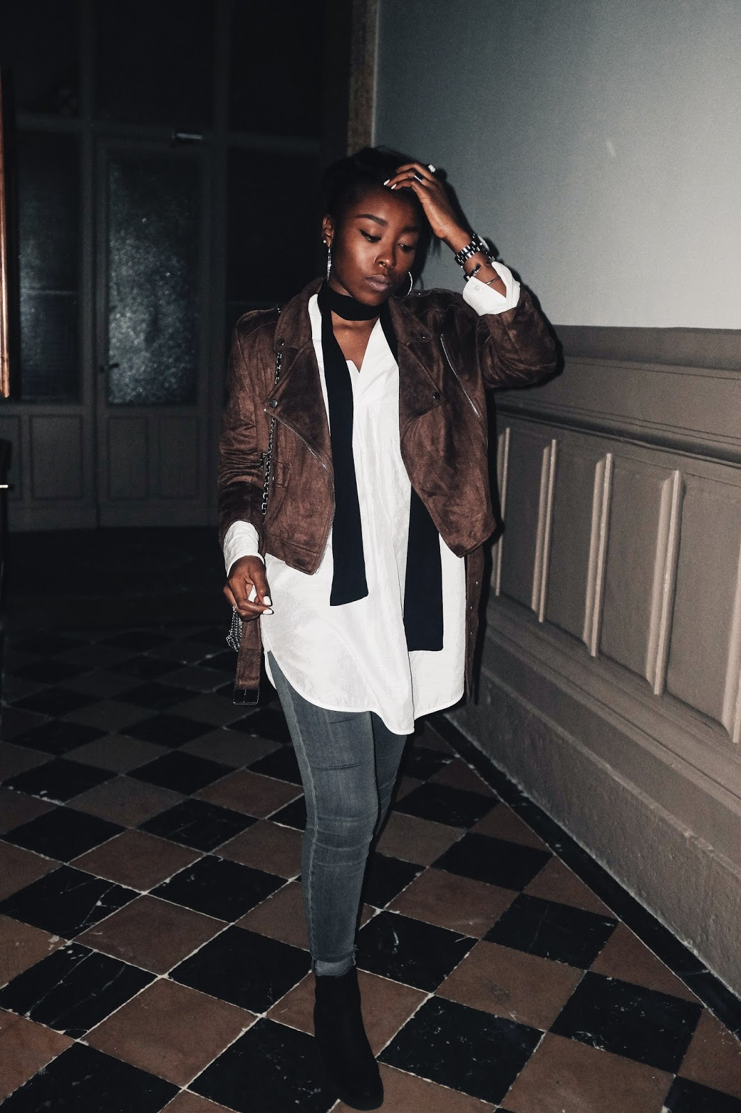 Brown Missguided faux suede biker jacket and black Asos skinny scarf