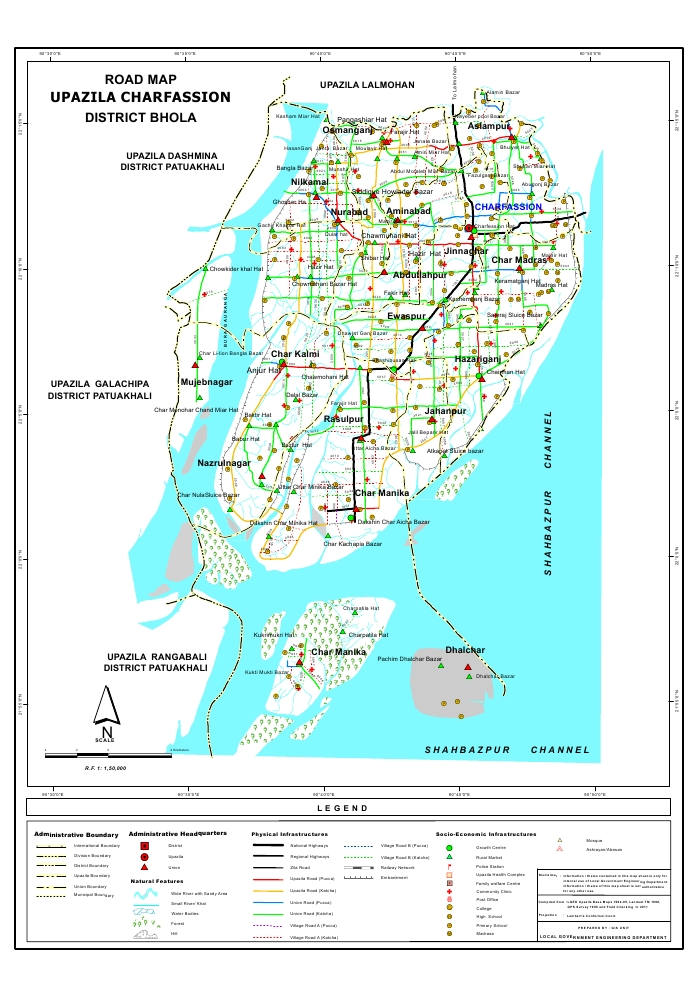 Charfassion Upazila Road Map Bhola District Bangladesh