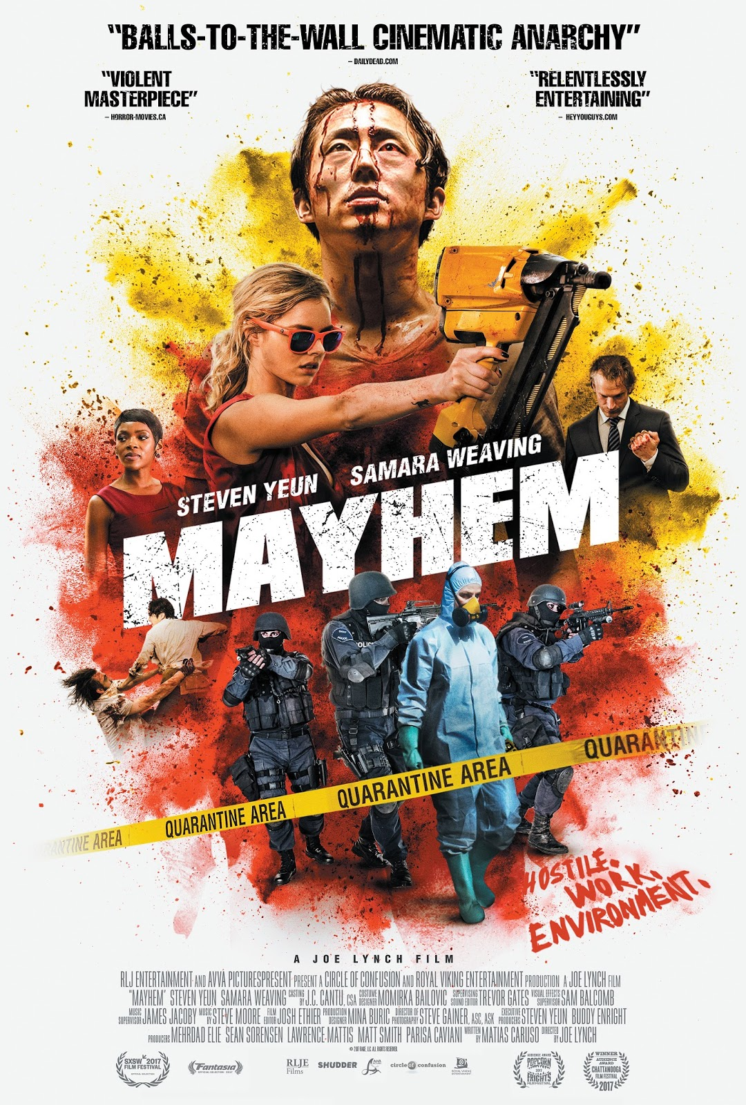 The Official Trailer For MAYHEM Is F*kin Nuts And Samara Weaving Is Having  The Only Fun