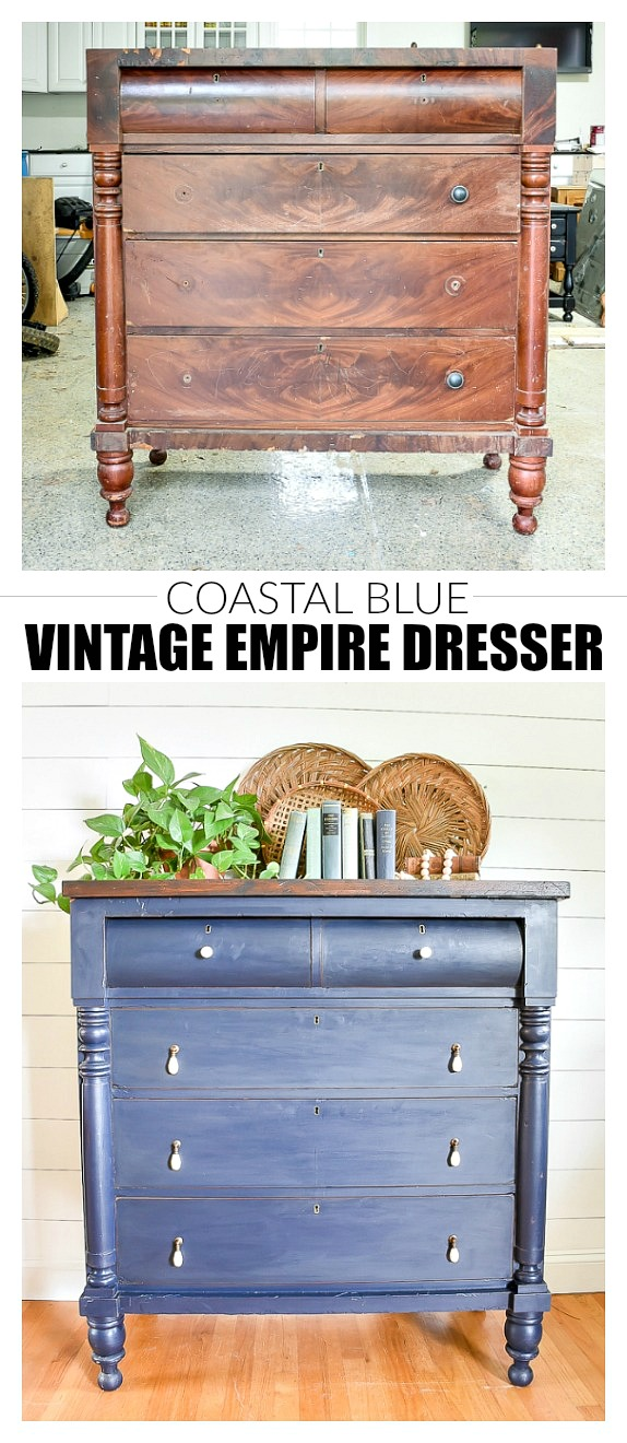 Vintage Coastal blue painted empire dresser before and after