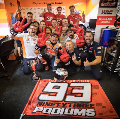 Spesial, Marquez Rayakan Podium ke-93 di GP Catalunya