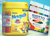 Logo Nesquik ti regala set pennarelli Giotto Turbo Color come premio sicuro e vinci 50 set dell'Artista Giotto