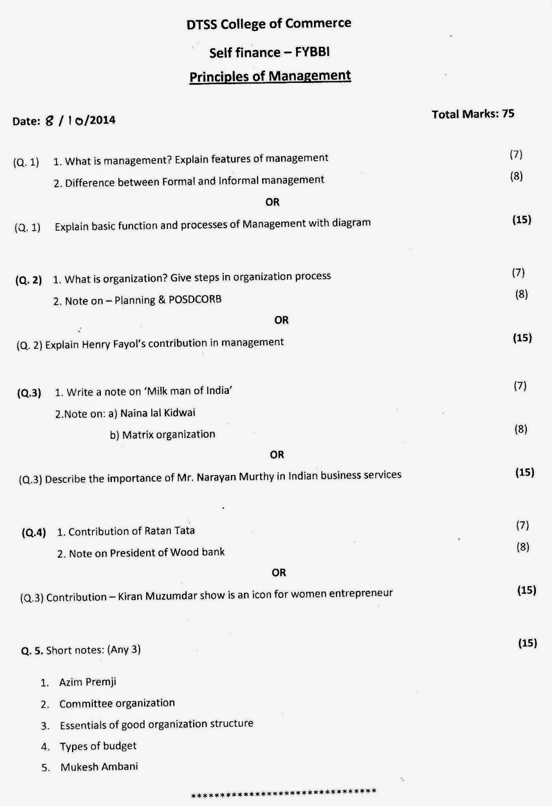 Question Papers Collection: F Y B B I  SEMESTER-I EXAM