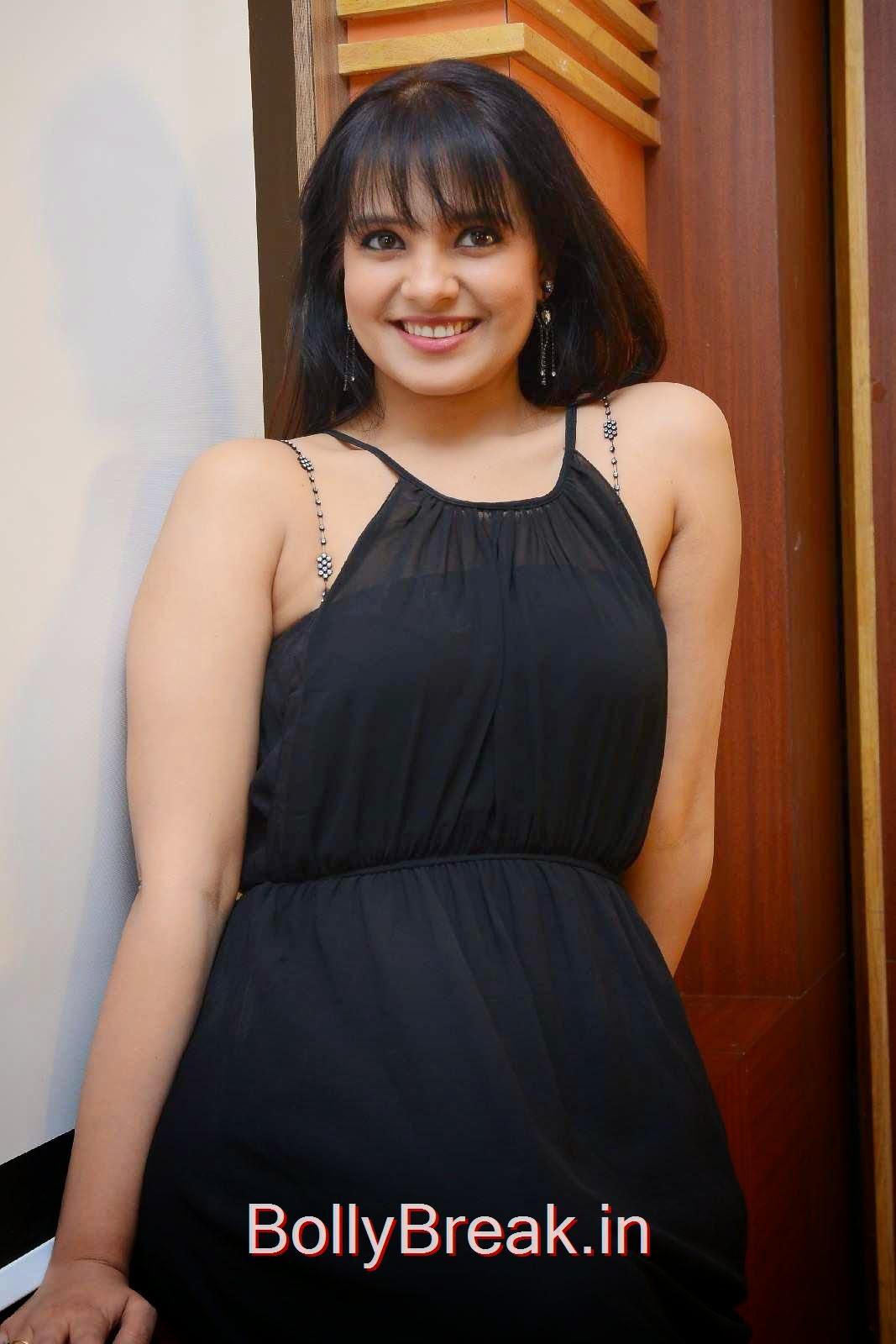 Saloni Stills, Actress Saloni Hd Pics in Black Dress without Sleeve at GAMA