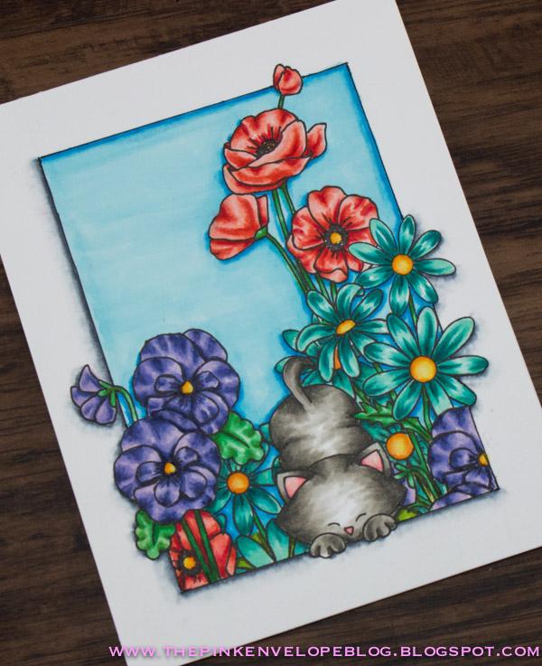 Newton's Garden Card by July Guest Designer Cynde Whitlow | Flower Garden, Garden Starter and Newton's Antics stamp sets by Newton's Nook Designs #newtonsnook