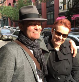 Ken Lee Custom hand made classic fedora on man with happy wife at The Hat House in Soho NYC