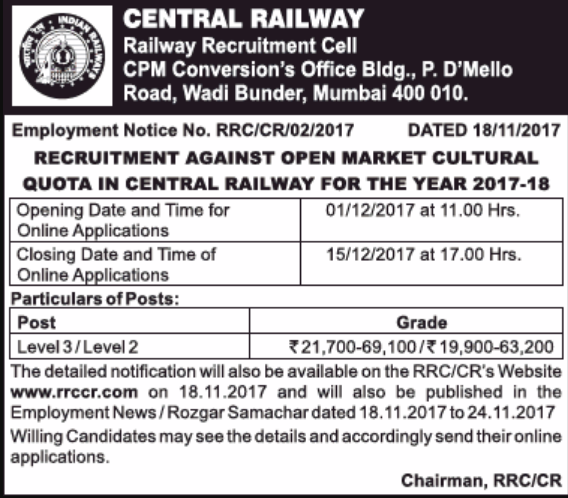 RRCCR Mumbai Recruitment