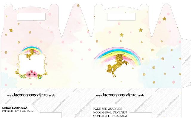 Caja Lunch, de Fiesta de Unicornios para Imprimir Gratis.
