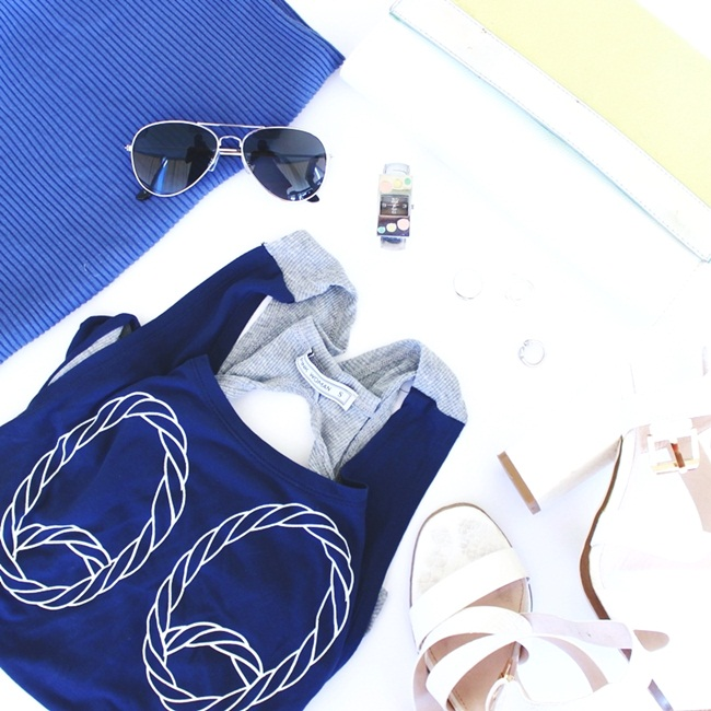 fashion flatlay with sporty chic items