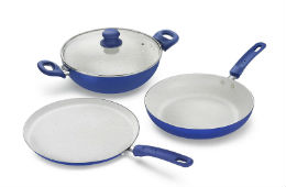 Prestige Marble Non Stick Aluminium Kadai Set 6pcs For Rs 1579 (Mrp 4095) Amazon