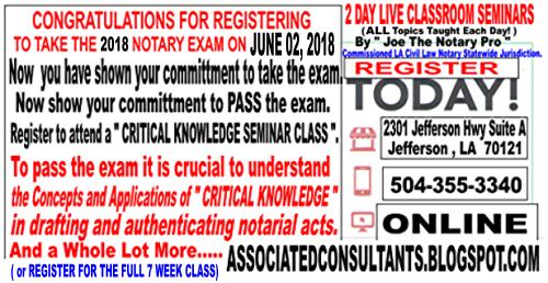 associated consultants a pelican state notary class register and rh associatedconsultants blogspot com Louisiana Notary Exam Pass Rate Louisiana Notary Seal