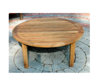 Natural Teak Round Outdoor Patio Wooden Coffee Table