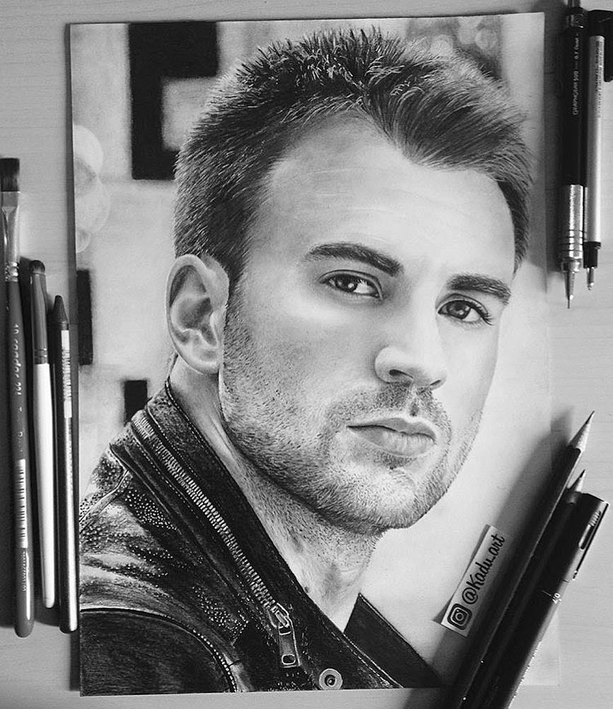 02-Chris-Evans-Captain-America-Eduardo-Calil-Celebrity-Portrait-Drawings-Color-and-Black-and-White-www-designstack-co
