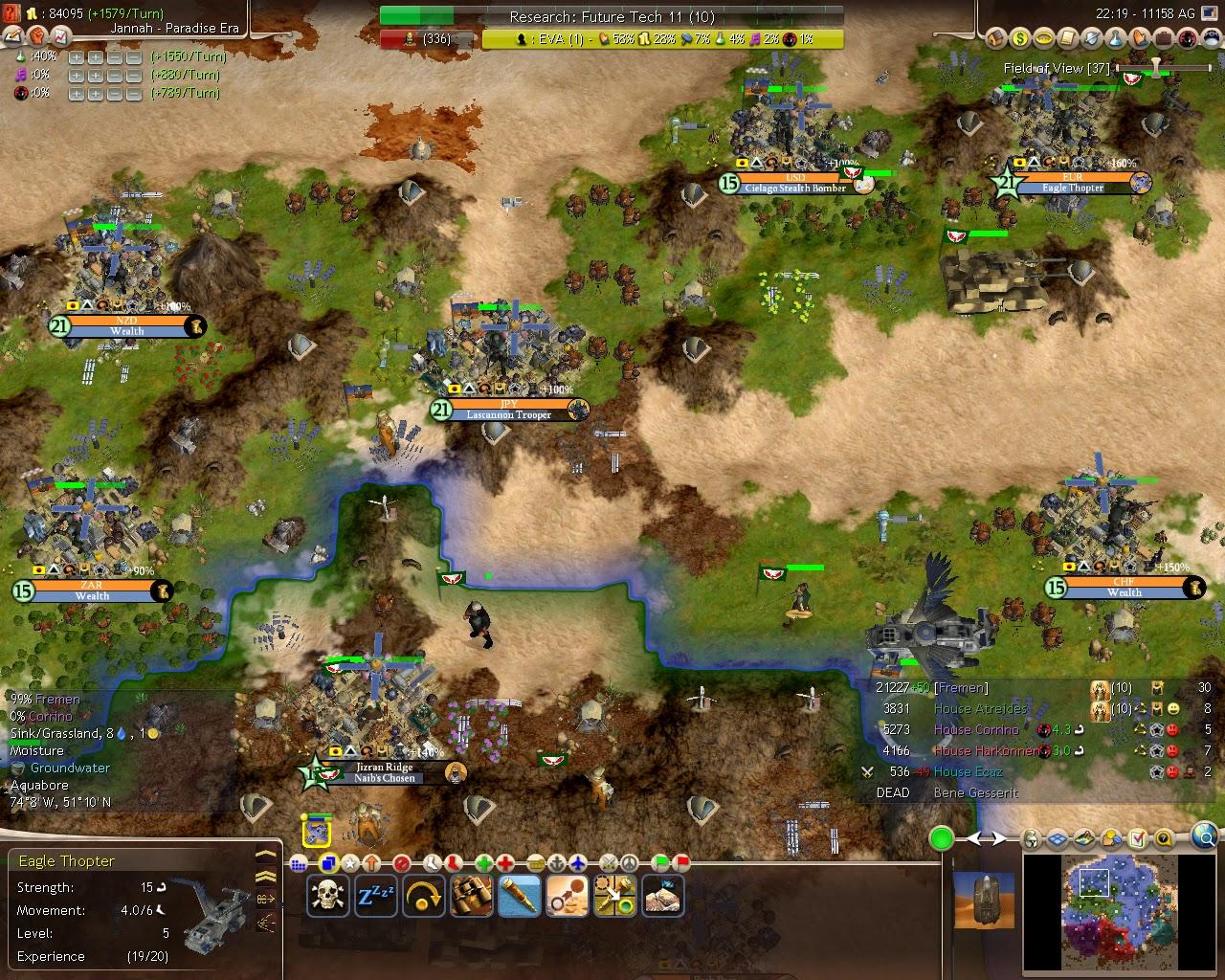 Civilization 4 Dune Wars - Terraformed Planet Screenshot