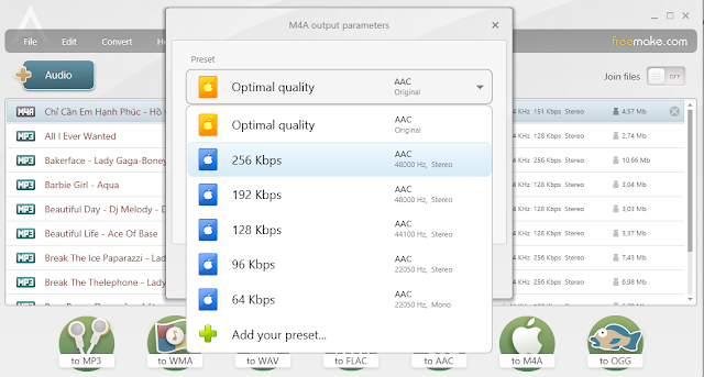 Phần mềm chuyển đổi MP3 sang M4A