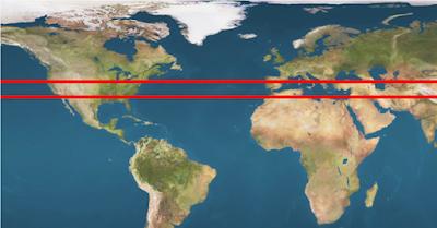北緯33至36度的平行線區間有定期形式的自然星際之門