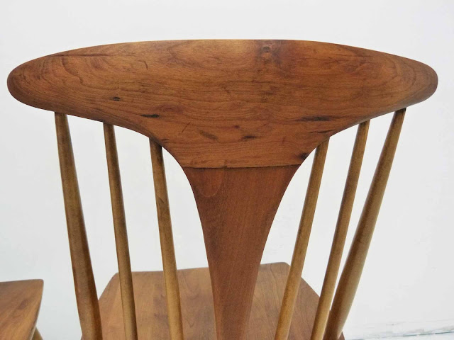 Heywood Wakefield Dowel High Back Mid-Century Doeskin Dining Chairs Blemish 3
