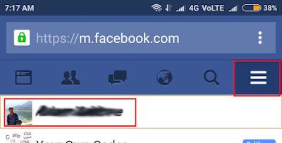 Mobile Facebook profile page