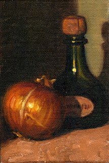 Oil painting of a brown onion beside a green onion-shaped bottle with a cork (a Moët & Chandon Petite Liqueur Bottle).