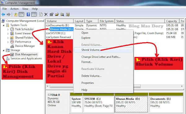 Computer Management, Disk Management, Partisi Hard Disk Drive atau Local Disk Blog Mas Dory