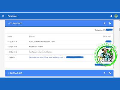 Pembayaran dari Google Adsense Bulan Desember 2016