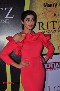 Actress praneetha Stills in Red Long Dress at South Scope Lifestyle Awards 2016 Red Carpet  0072.JPG