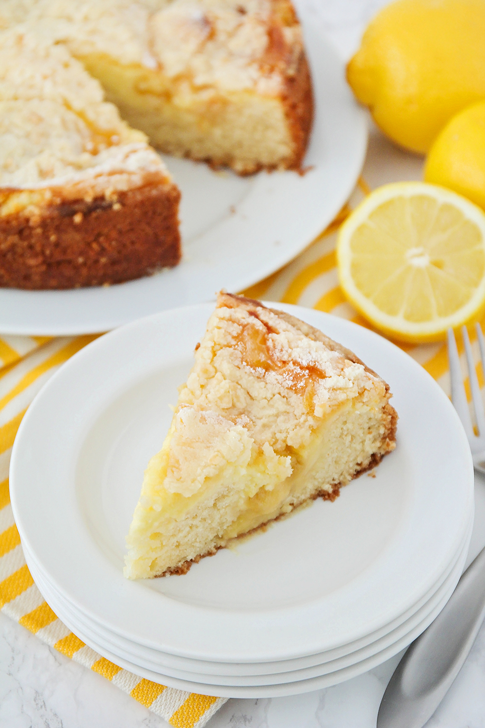 This lemon cream cheese coffee cake is so tender and flavorful, and perfect for breakfast, dessert, or entertaining!